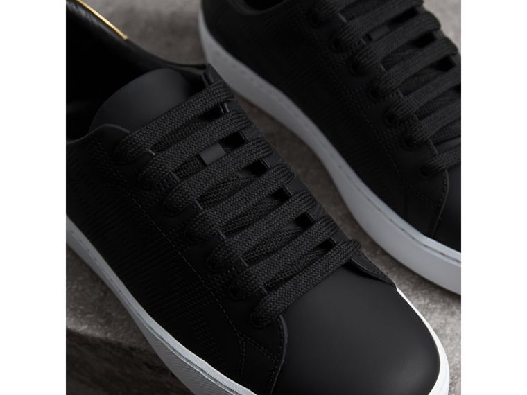 Perforated Check Leather Trainers in Black - Women | Burberry - cell image 4