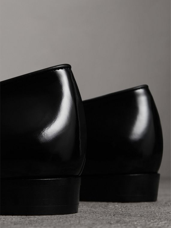 Woven-toe Polished Leather Derby Shoes in Black - Women | Burberry - cell image 2