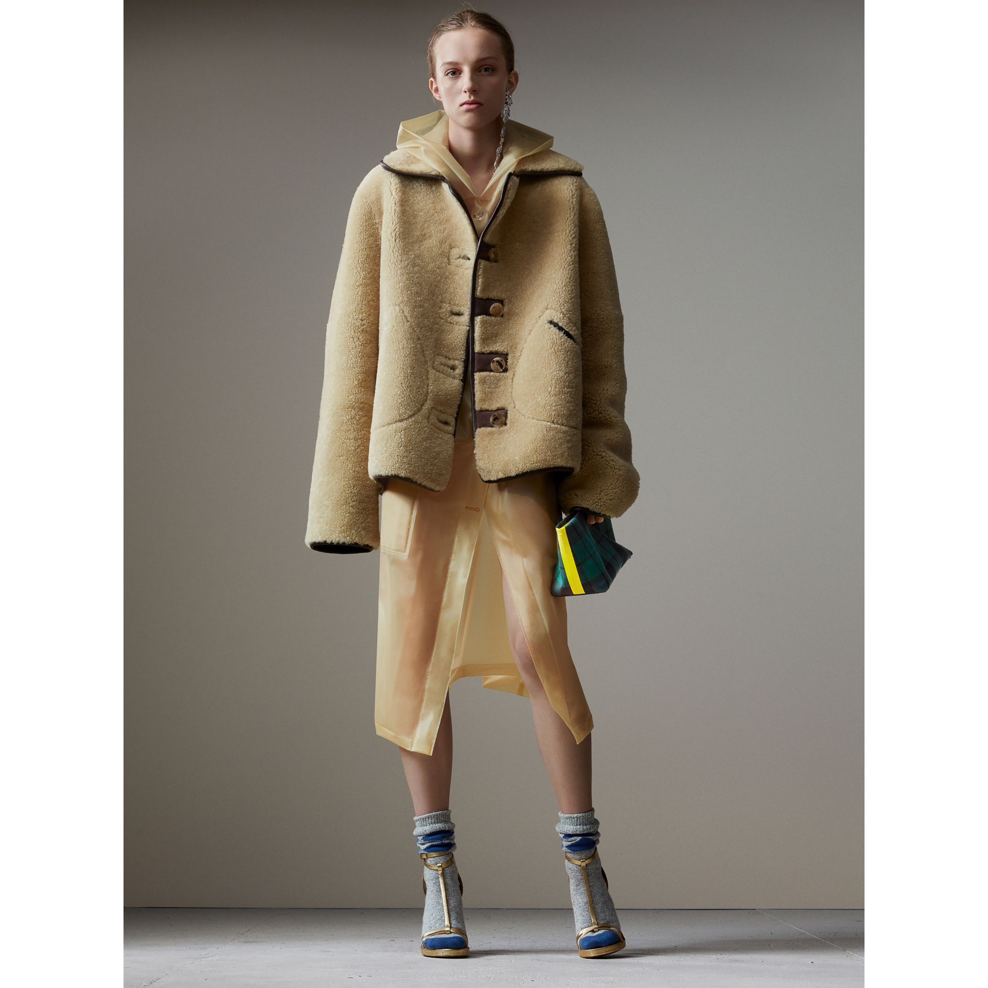 Soft-touch Plastic Hooded Car Coat in Antique Yellow - Women | Burberry - gallery image 6