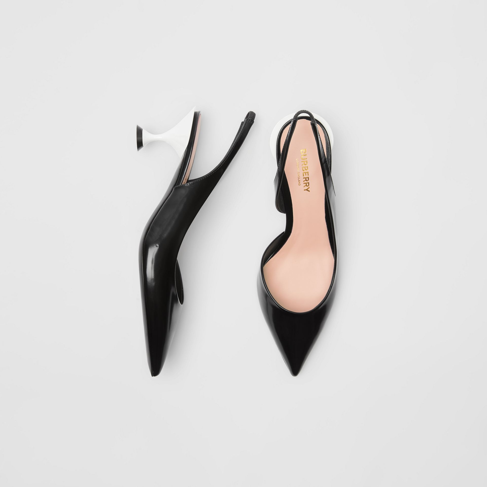 Leather Slingback Pumps in Black - Women | Burberry - gallery image 0