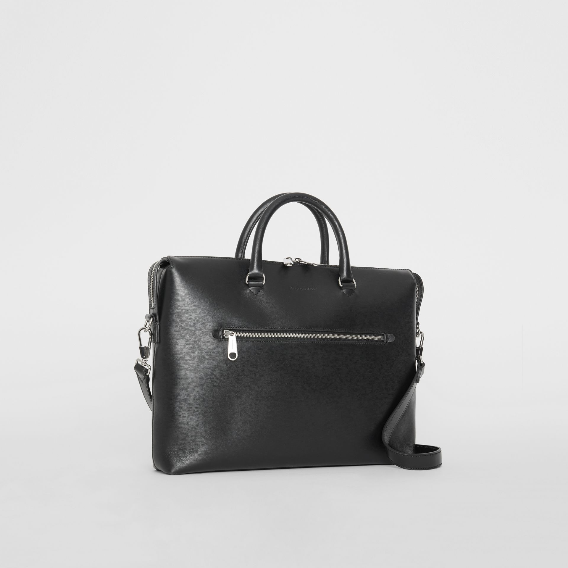 Large Textured Leather Briefcase in Black - Men | Burberry - gallery image 6