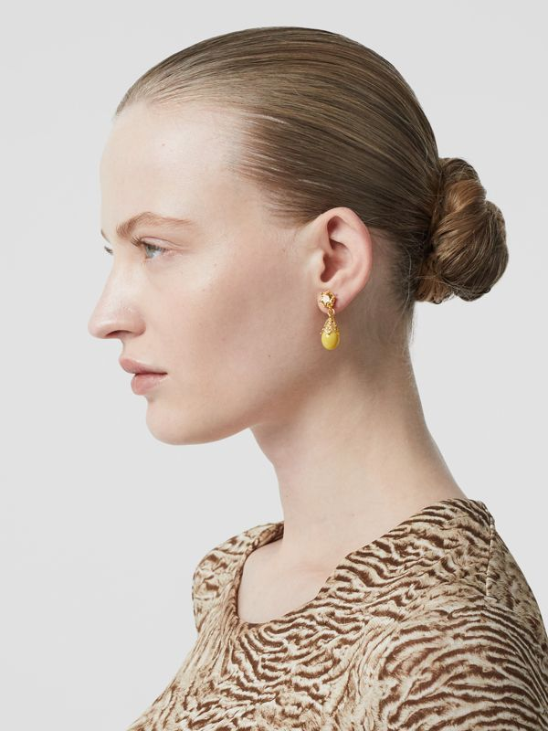 Gold-plated Faux Pearl Charm Earrings in Light Topaz/light - Women | Burberry Australia - cell image 2