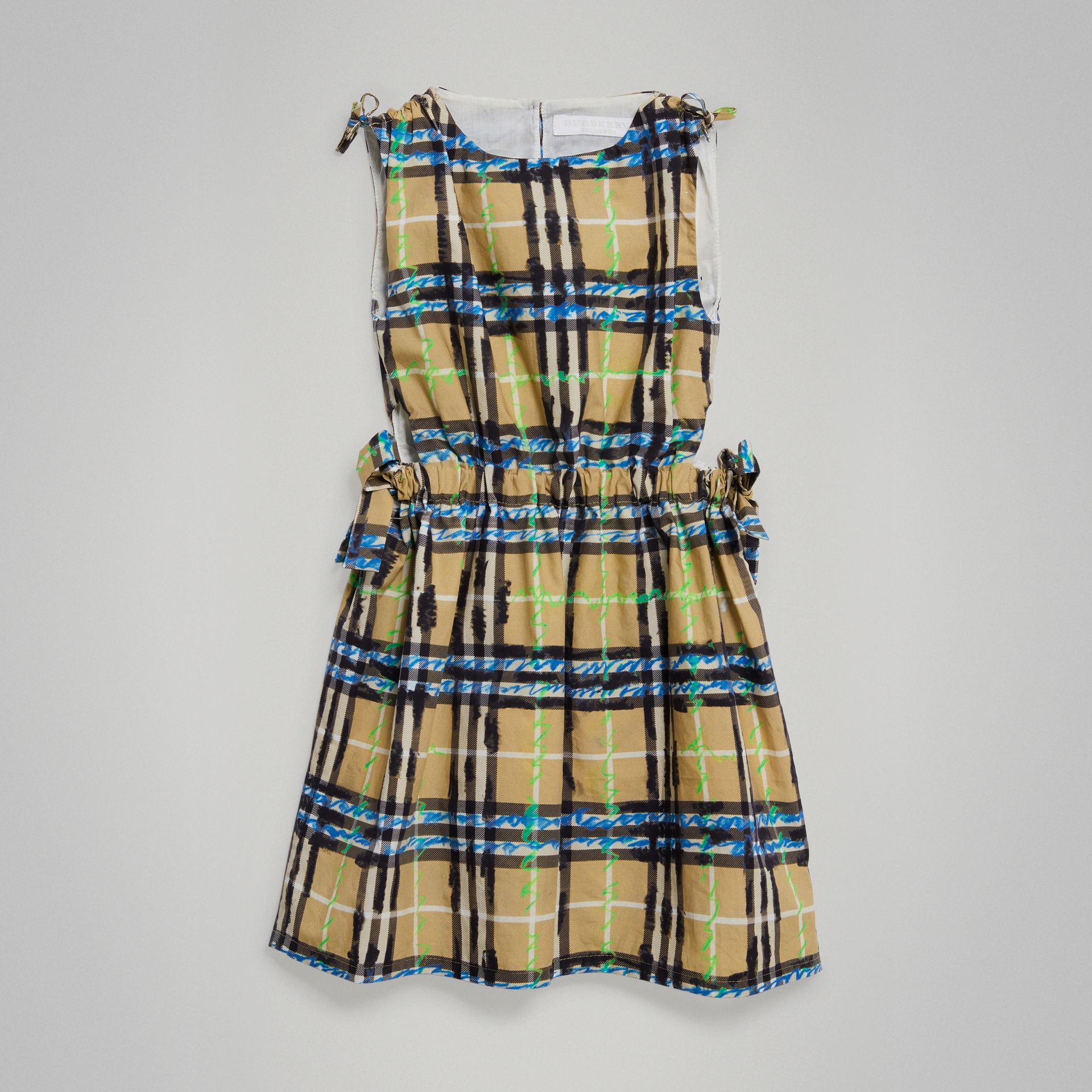 Tie-detail Scribble Check Cotton Dress in Bright Blue - Girl | Burberry - gallery image 0