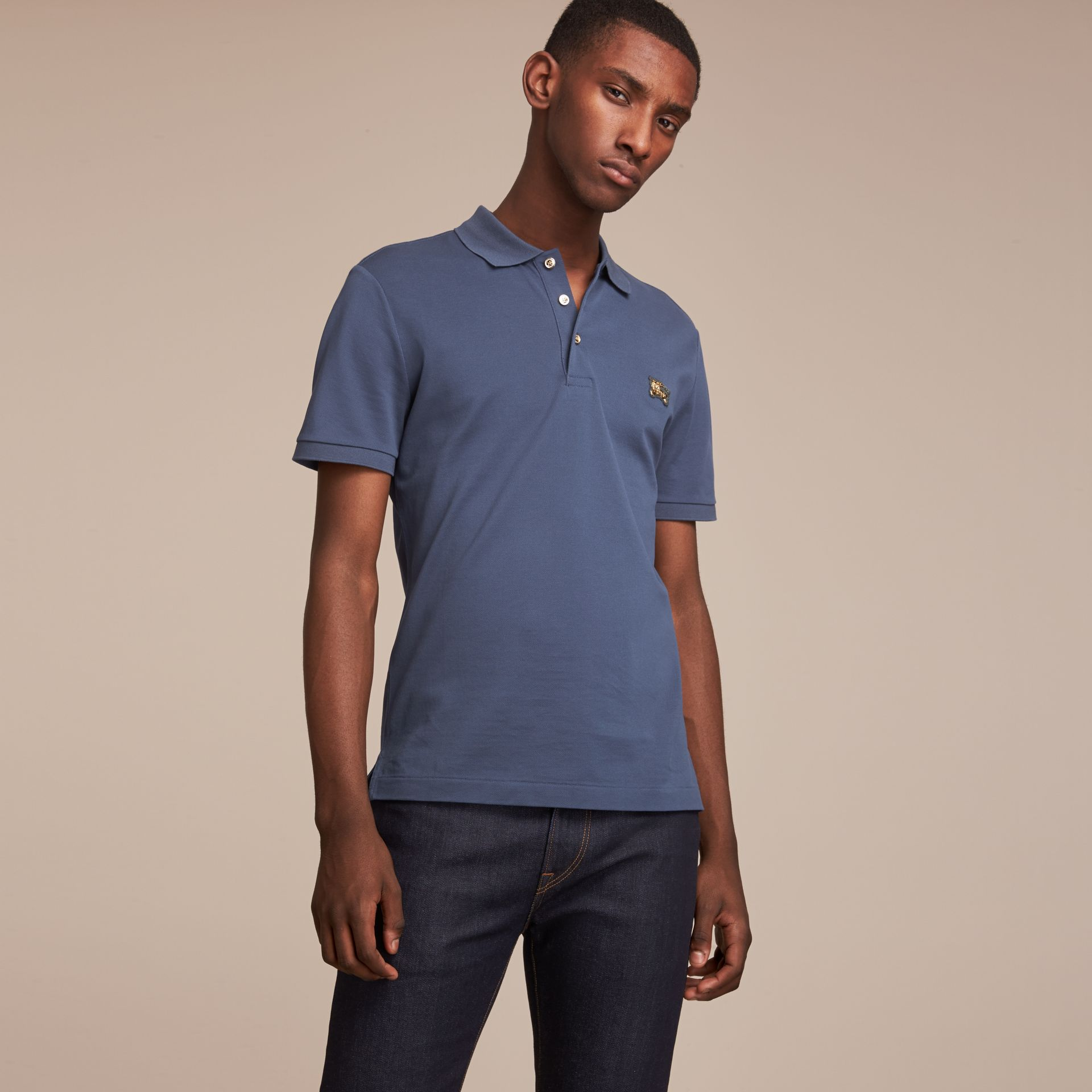 Cotton Piqué Polo Shirt Steel Blue - gallery image 6
