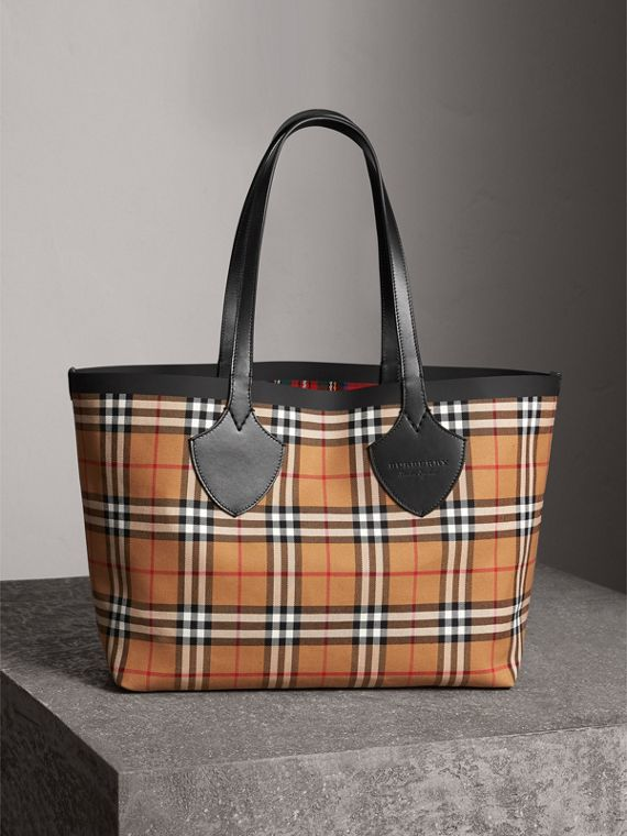 Borsa tote double face The Giant media in cotone con motivo Vintage check (Giallo Antico/rosso Acceso)