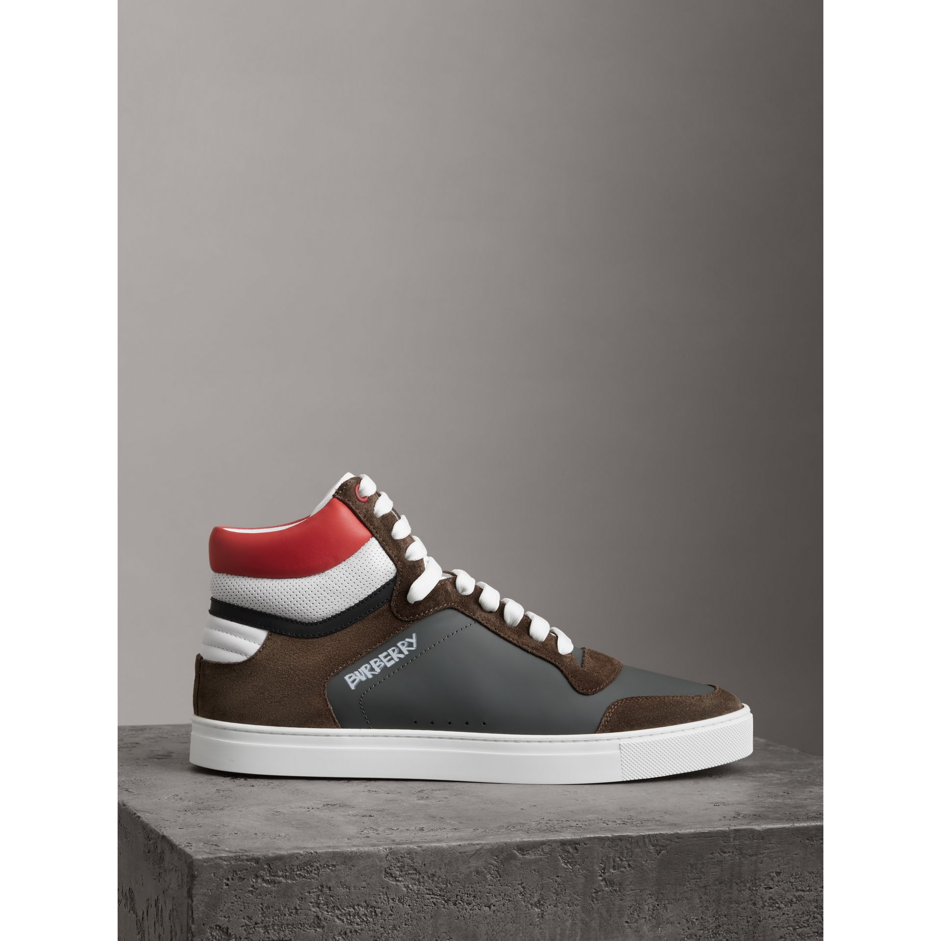 Suede and Leather High-top Sneakers in Steel Grey - Men | Burberry - gallery image 3
