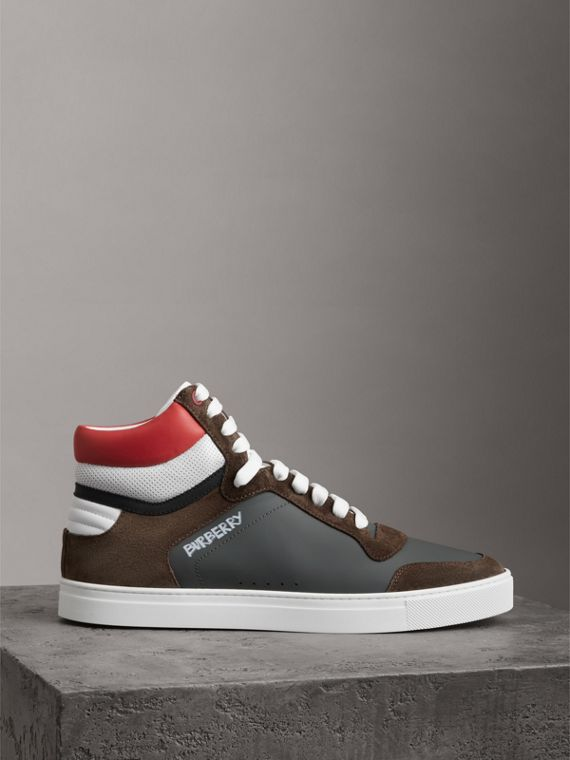 Suede and Leather High-top Sneakers in Steel Grey - Men | Burberry - cell image 3