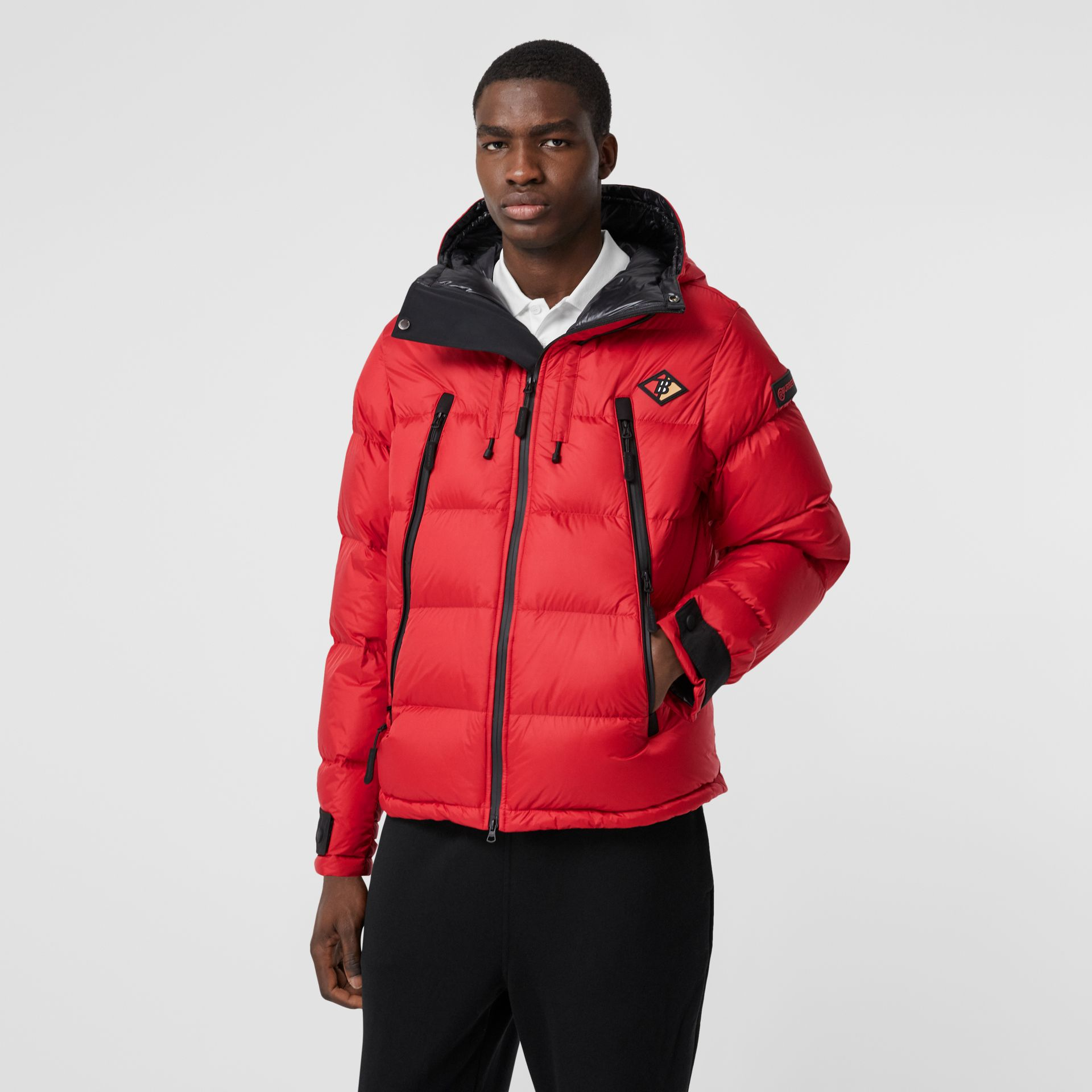 Logo Graphic Hooded Puffer Jacket in Bright Red - Men | Burberry - gallery image 5