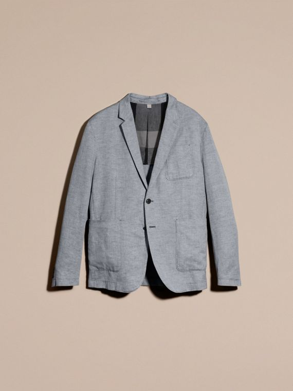 Pale blue Herringbone Linen Cotton Tailored Jacket Pale Blue - cell image 3