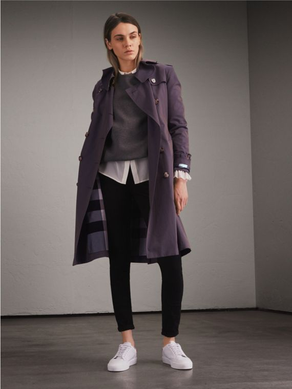 Tropical Gabardine Trench Coat with Ruffle Detail Storm Blue