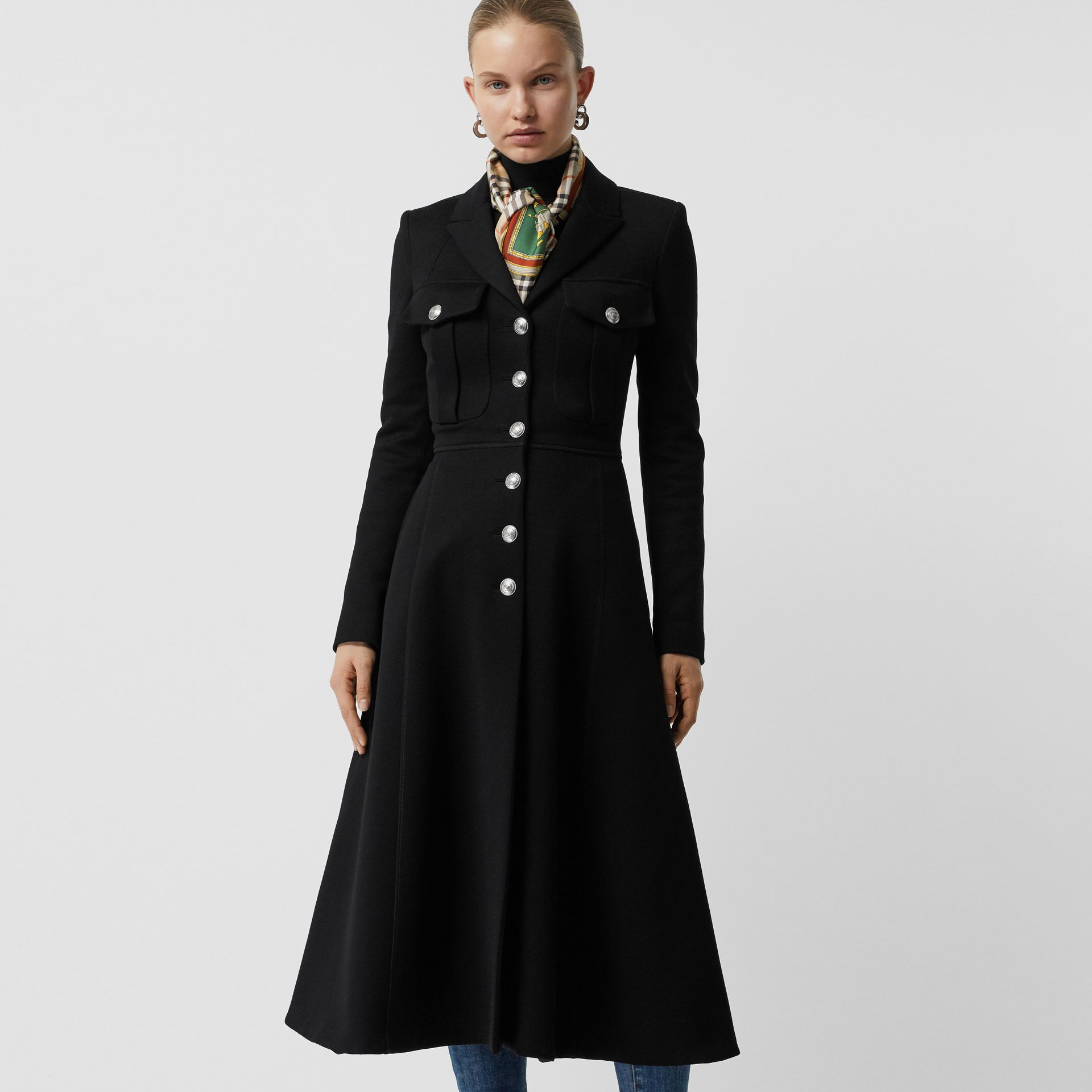 Bonded Cotton Blend Jersey Tailored Coat in Black - Women | Burberry - gallery image 5