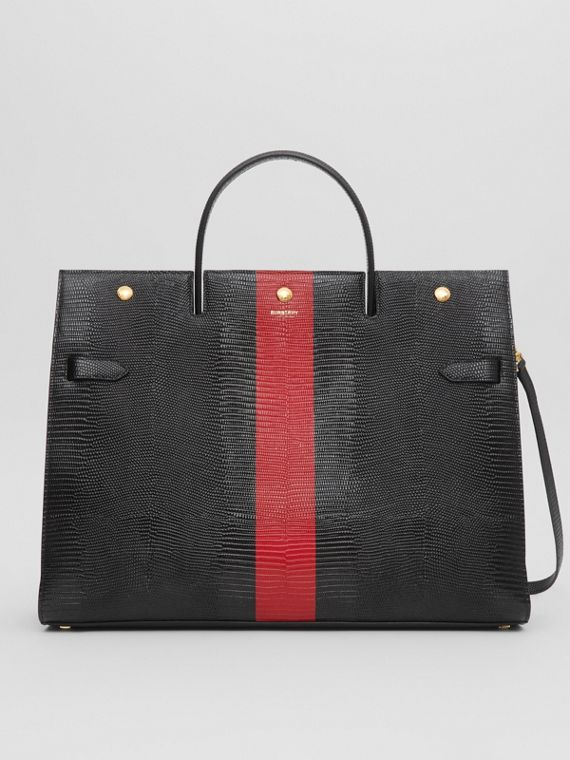 Large Striped Embossed Leather Title Bag in Black