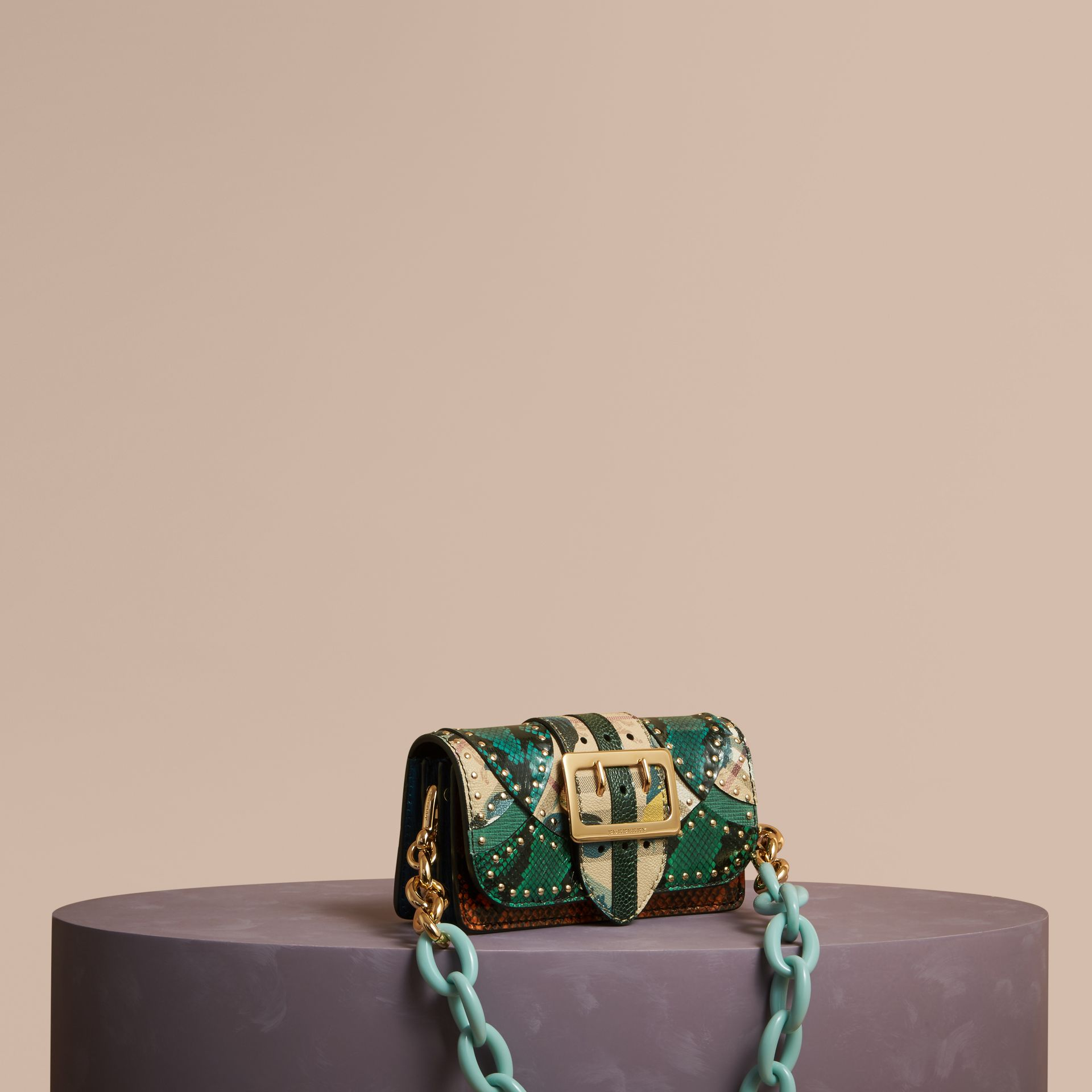 Turquoise The Small Buckle Bag in Riveted Snakeskin and Floral Print - gallery image 1