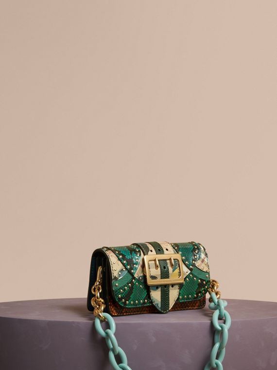 The Small Buckle Bag in Riveted Snakeskin and Floral Print