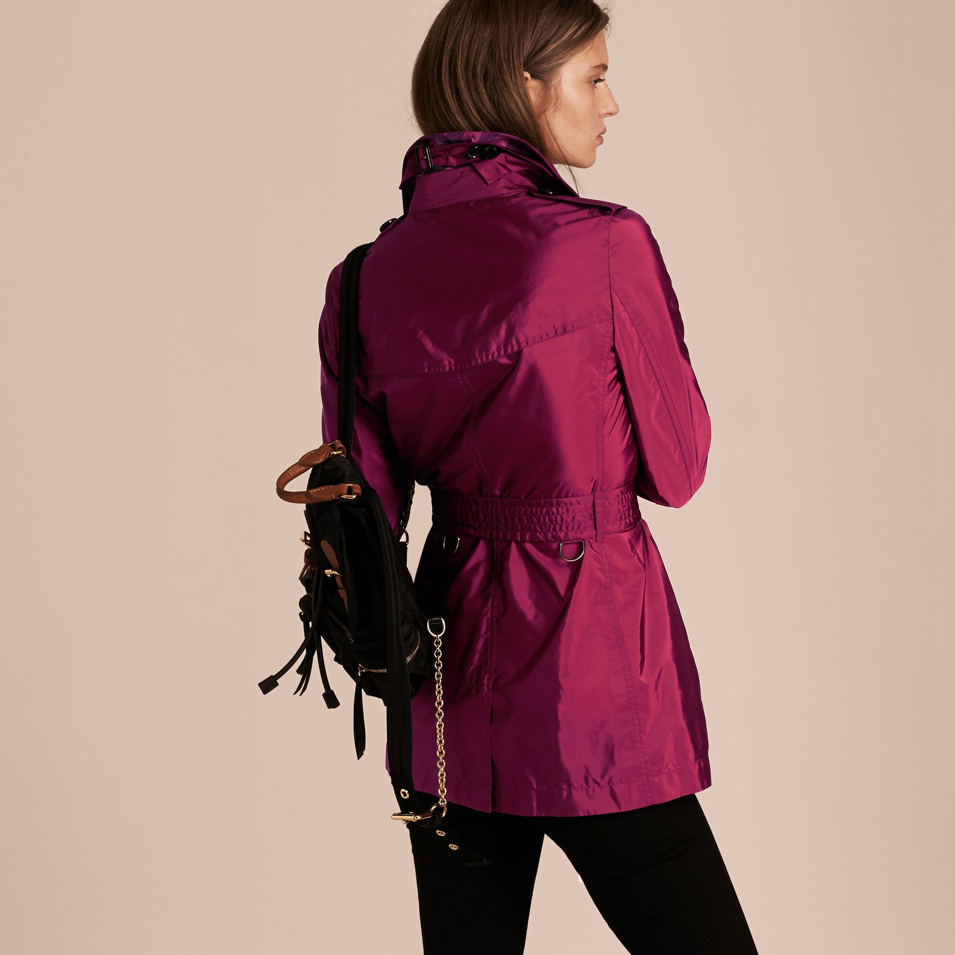 Lightweight Trench Coat in Berry Pink - gallery image 3