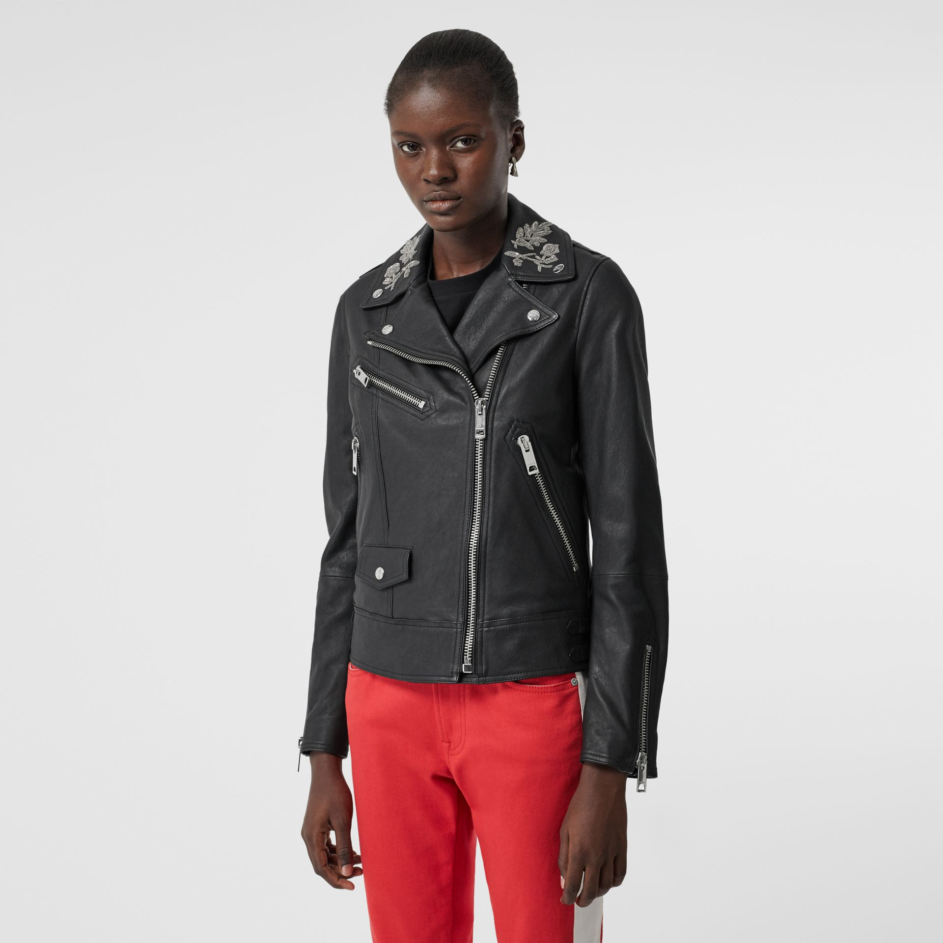 Bullion Floral Lambskin Biker Jacket in Black - Women | Burberry - gallery image 5