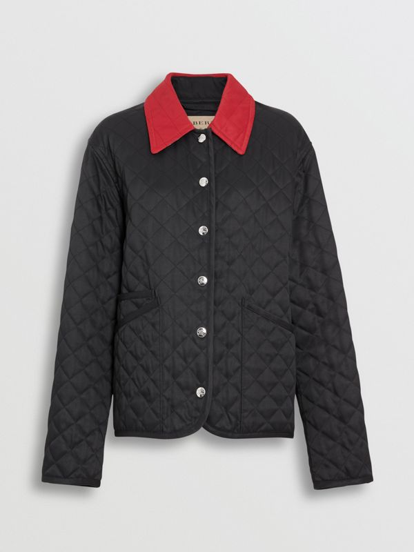 Diamond Quilted Barn Jacket in Black - Women | Burberry - cell image 3