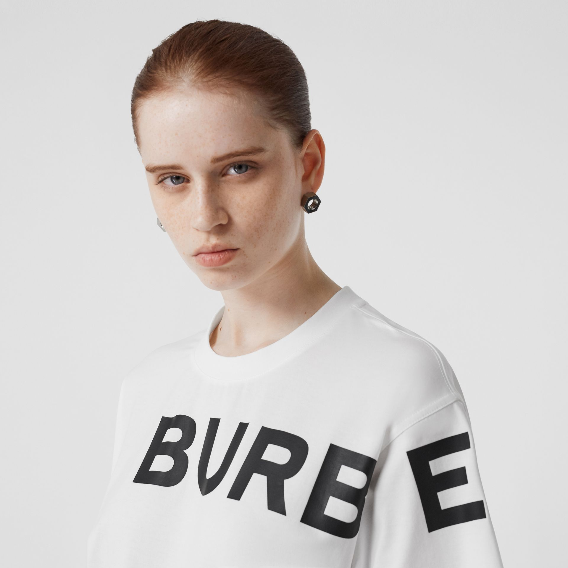 Horseferry Print Cotton Oversized T-shirt in White - Women | Burberry - gallery image 1