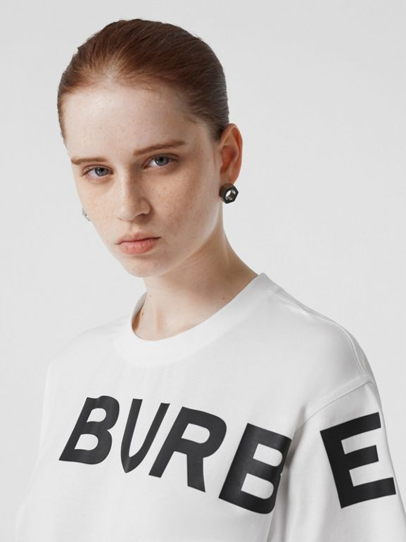 Horseferry Print Cotton Oversized T-shirt in White | Burberry - cell image 1