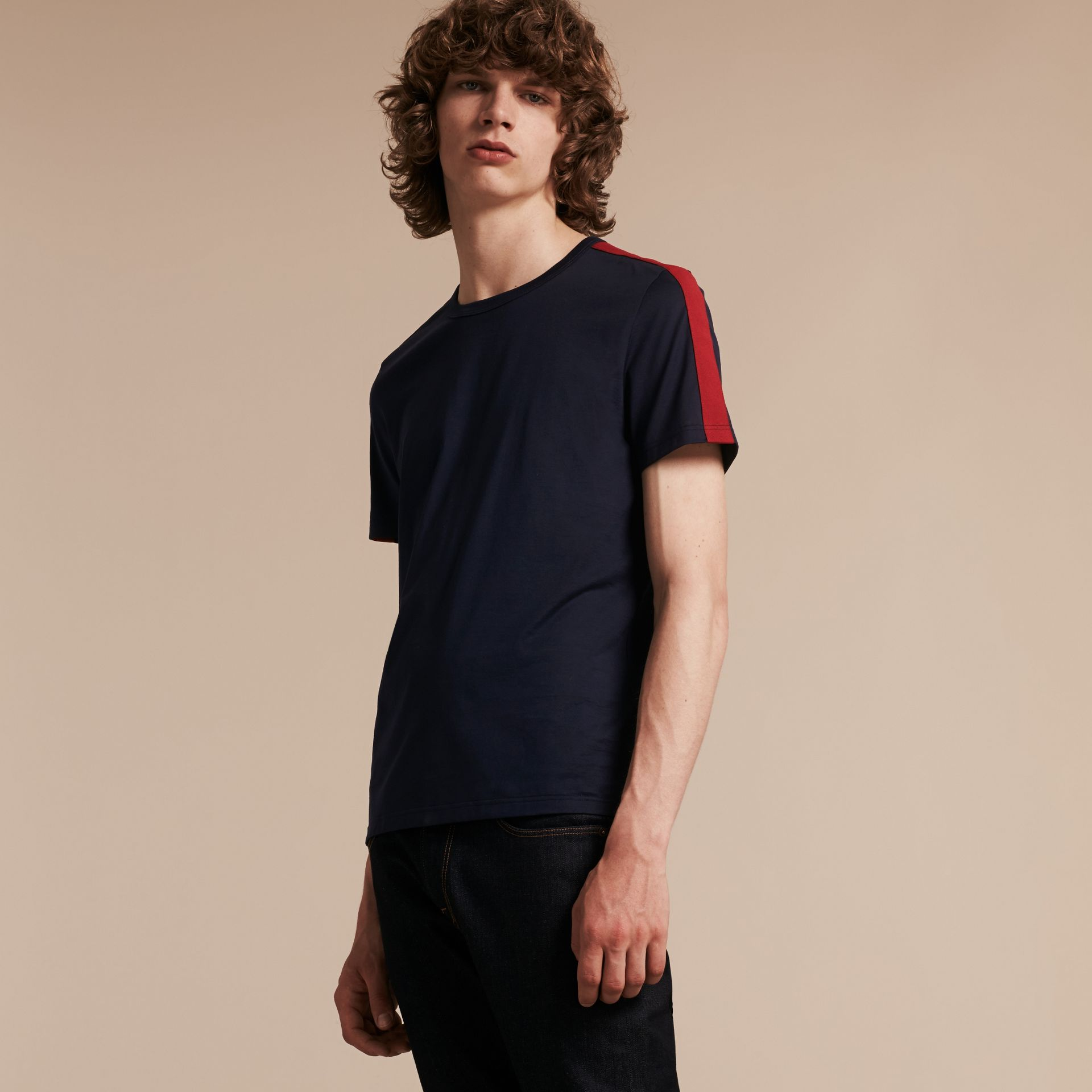 Navy Shoulder Stripe Cotton T-shirt Navy - gallery image 6