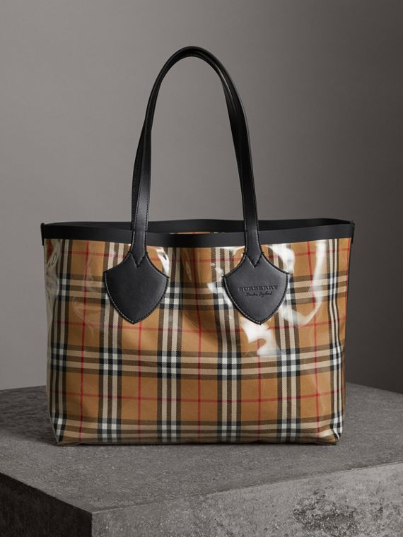 The Medium Giant Tote in Plastic and Vintage Check in Antique Yellow/black