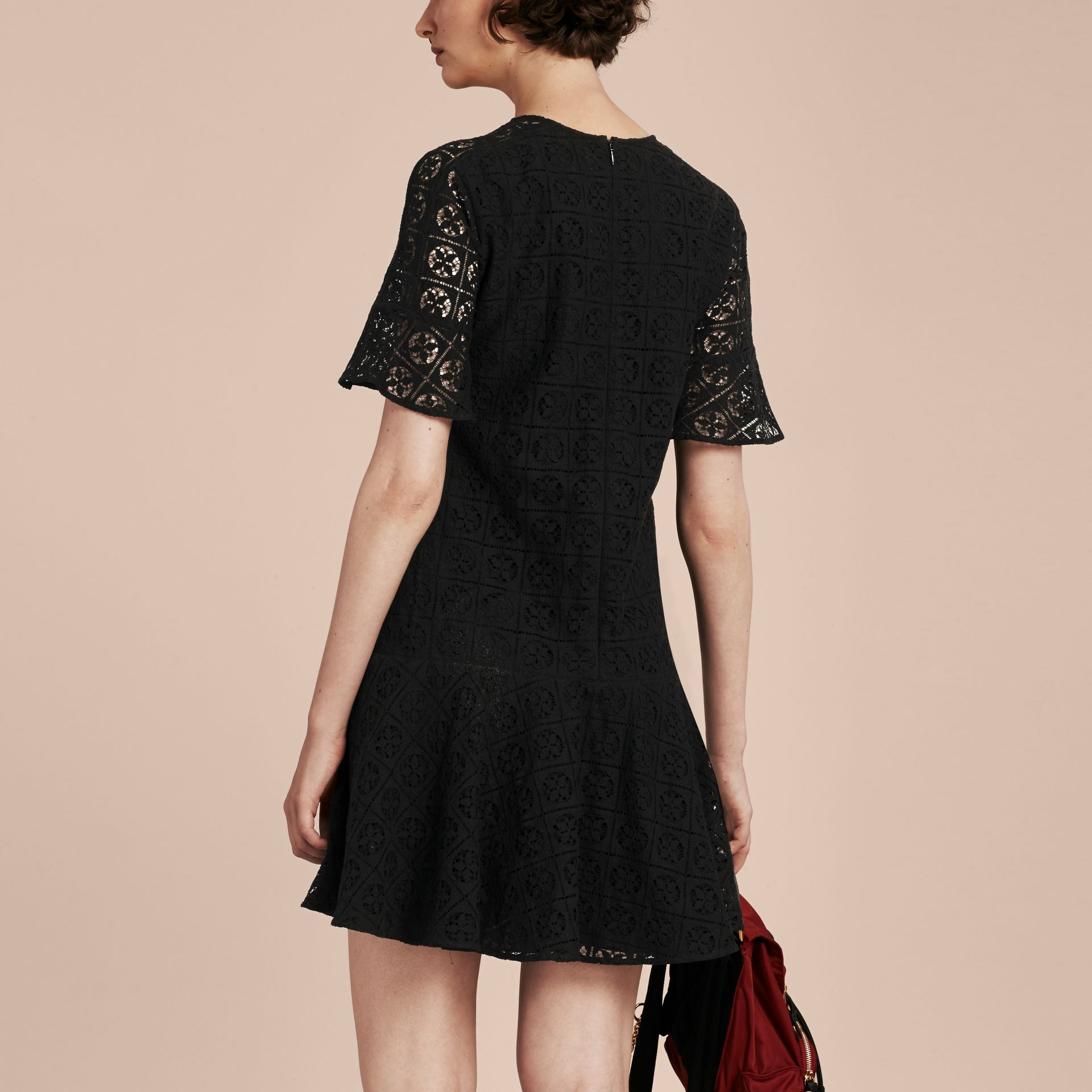 Black Lace Fit and Flare Dress - gallery image 3