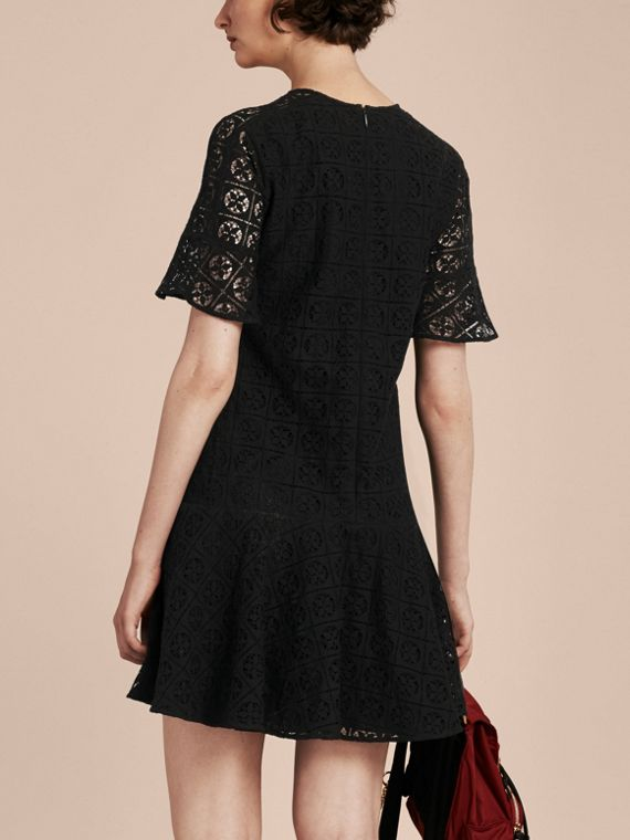 Black Lace Fit and Flare Dress - cell image 2
