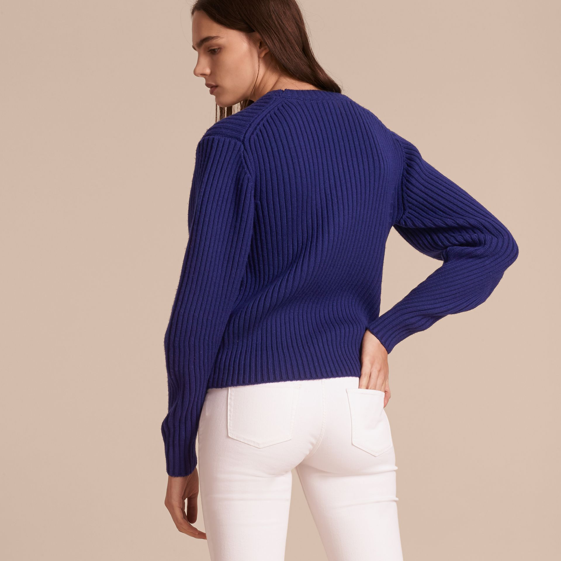 Oversize Pocket Detail Rib Knit Cashmere Cotton Sweater in Bright Navy - Women | Burberry - gallery image 3