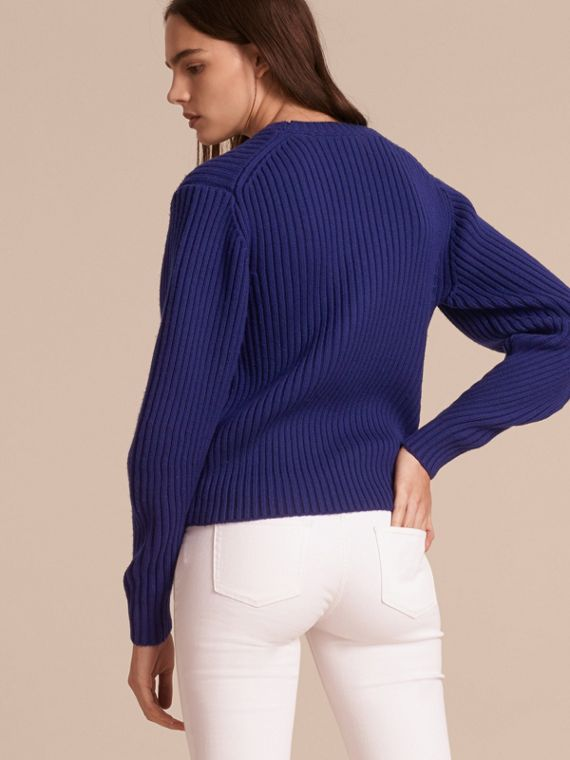Oversize Pocket Detail Rib Knit Cashmere Cotton Sweater in Bright Navy - Women | Burberry - cell image 2