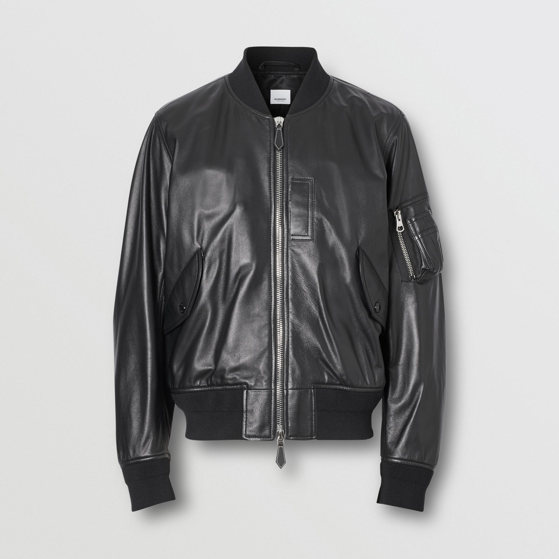 Lambskin Bomber Jacket in Black - Men | Burberry - gallery image 3