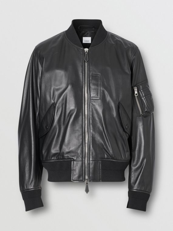 Lambskin Bomber Jacket in Black