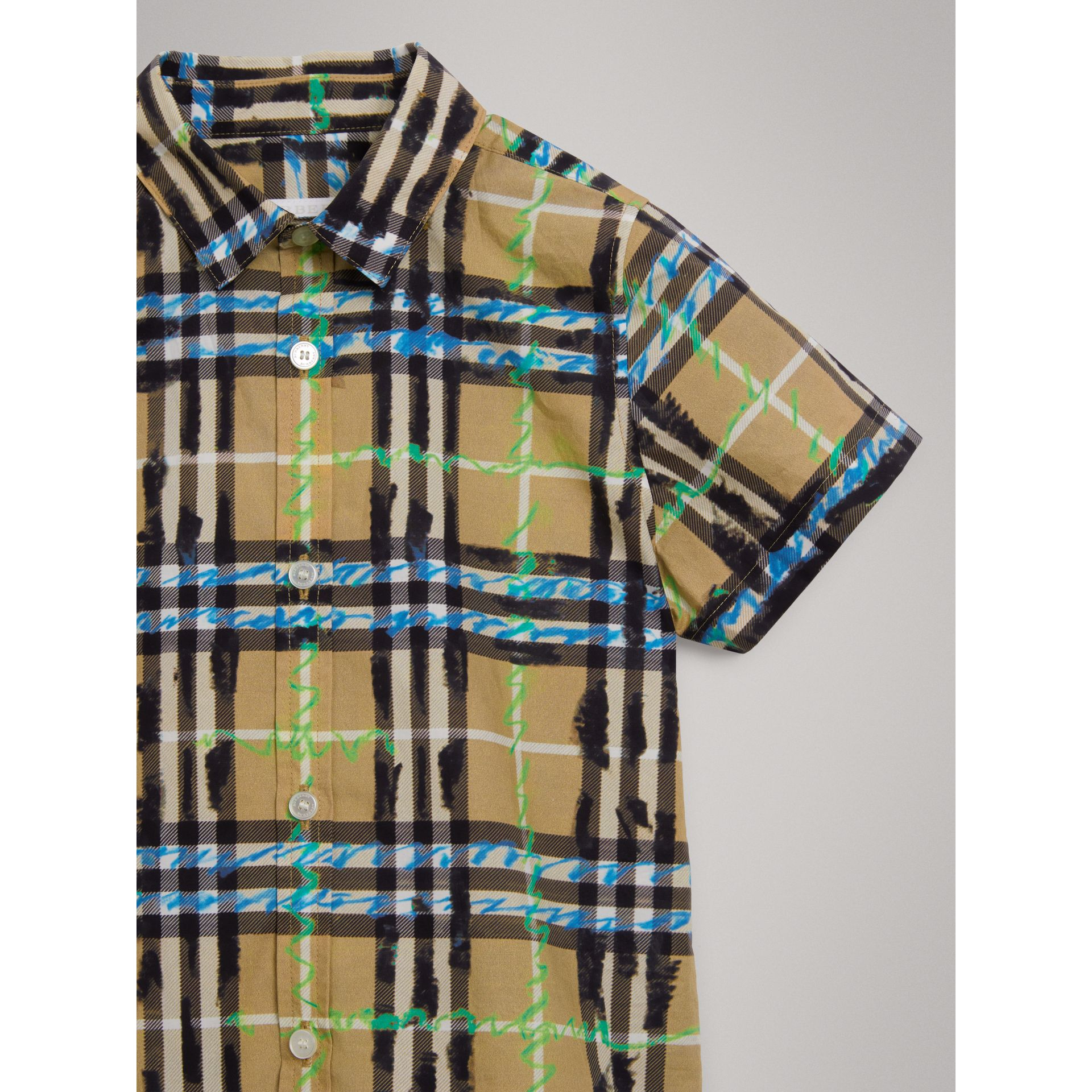 Short-sleeve Scribble Check Cotton Shirt in Bright Blue - Boy | Burberry - gallery image 4