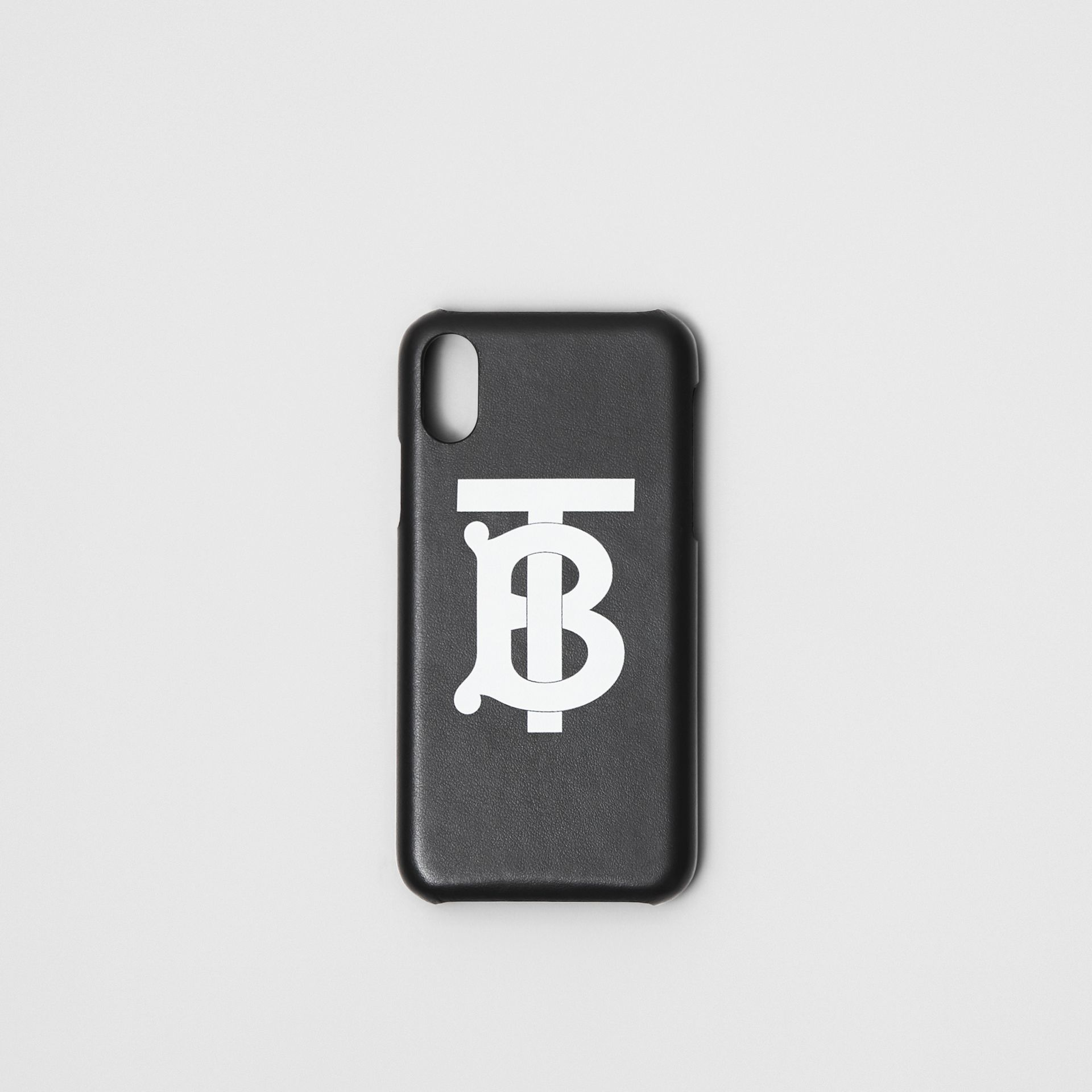 Monogram Motif Leather iPhone X/XS Case in Black - Men | Burberry Singapore - gallery image 0