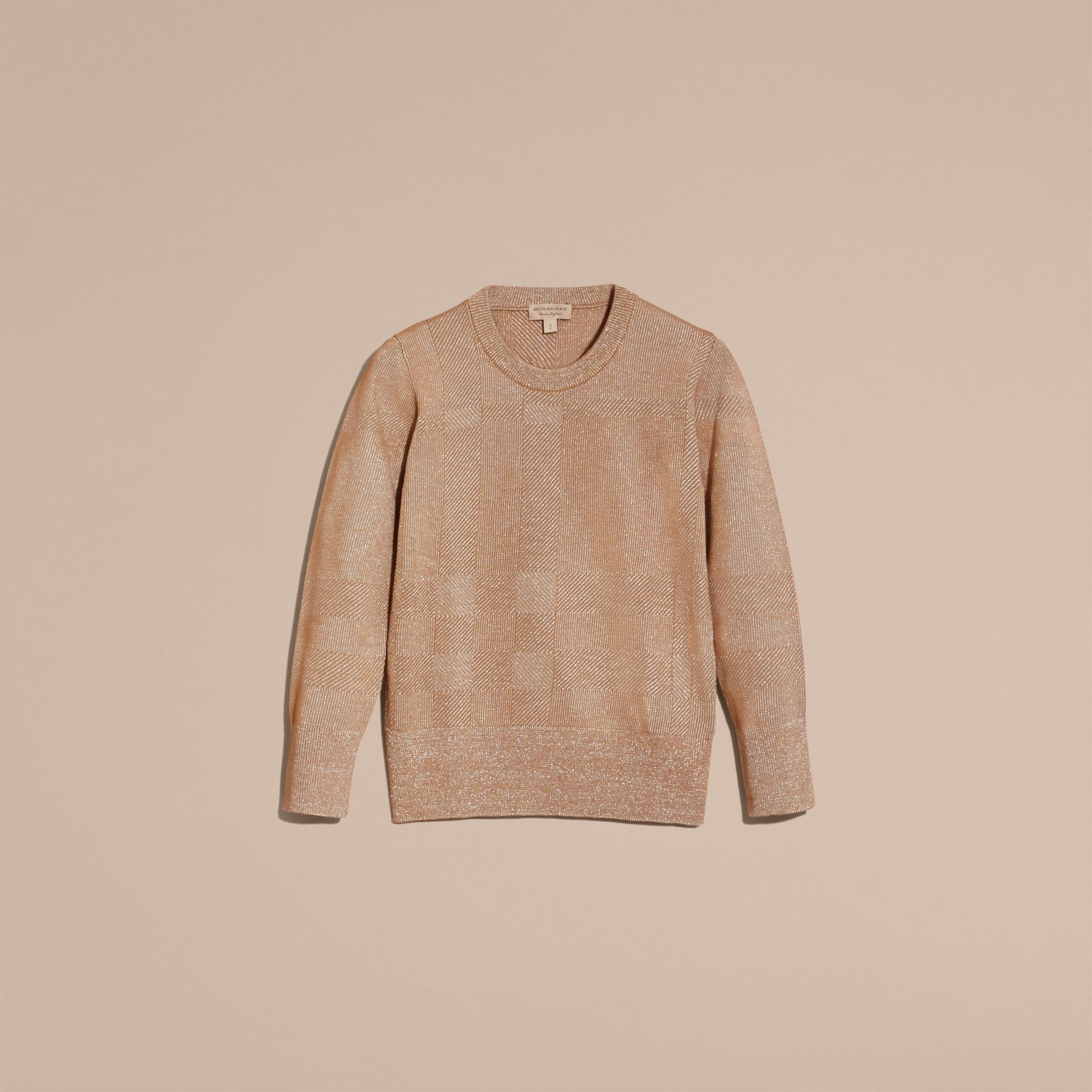 Camel Check Merino Wool and Metallic Sweater - gallery image 4
