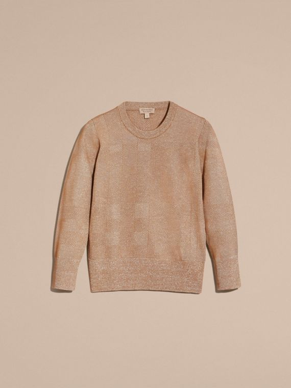 Camel Check Merino Wool and Metallic Sweater - cell image 3