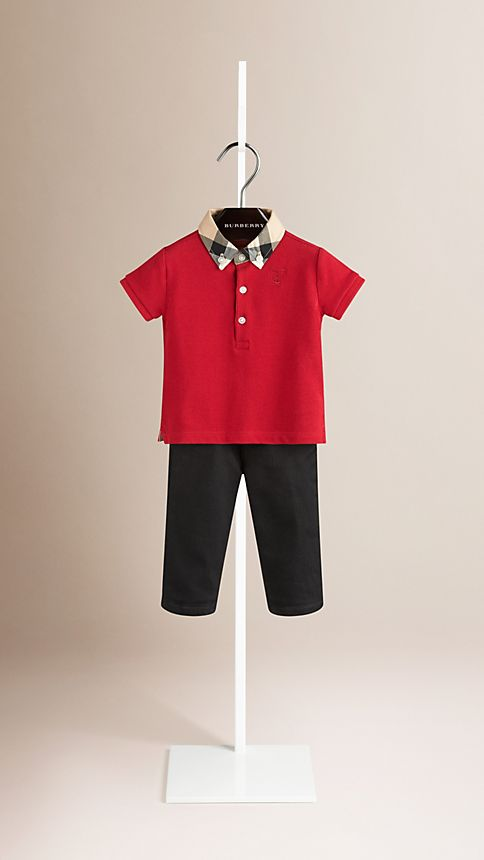 Military red Check Collar Polo Shirt - Image 1