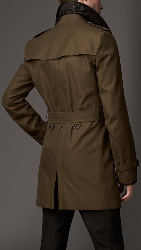 Dark khaki green Wool Cashmere Detail Gabardine Trench Coat - Image 2