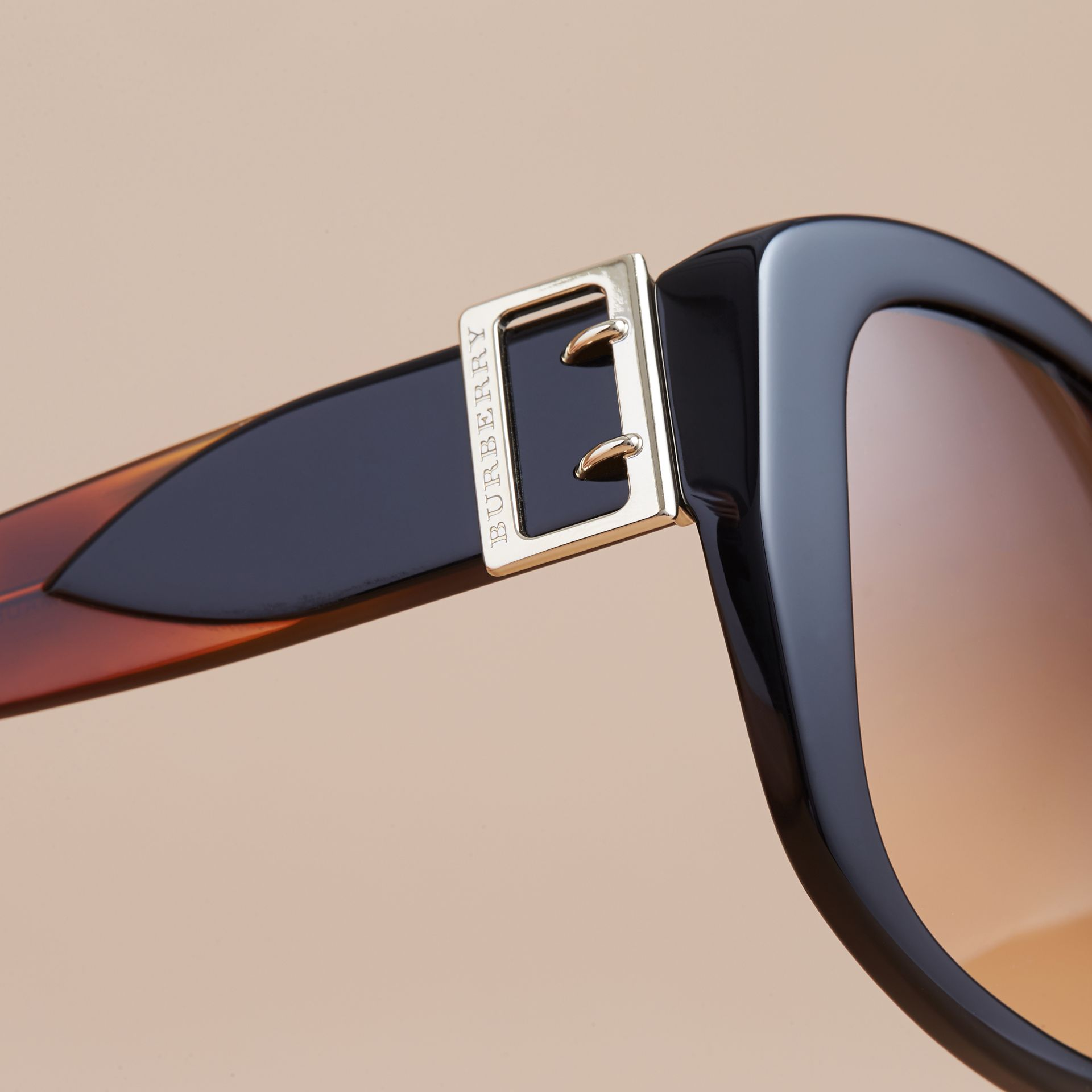 Buckle Detail Oversize Square Frame Sunglasses in Black - Women | Burberry - gallery image 1