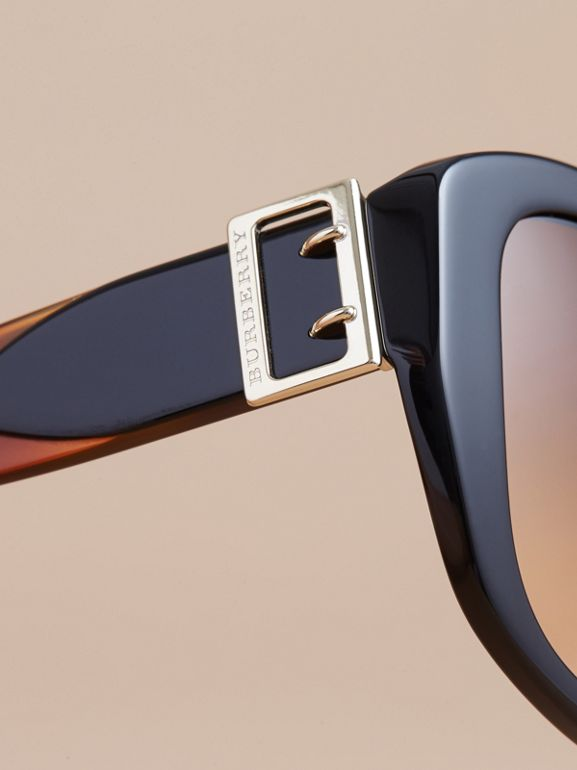 Buckle Detail Oversize Square Frame Sunglasses in Black - Women | Burberry Singapore - cell image 1