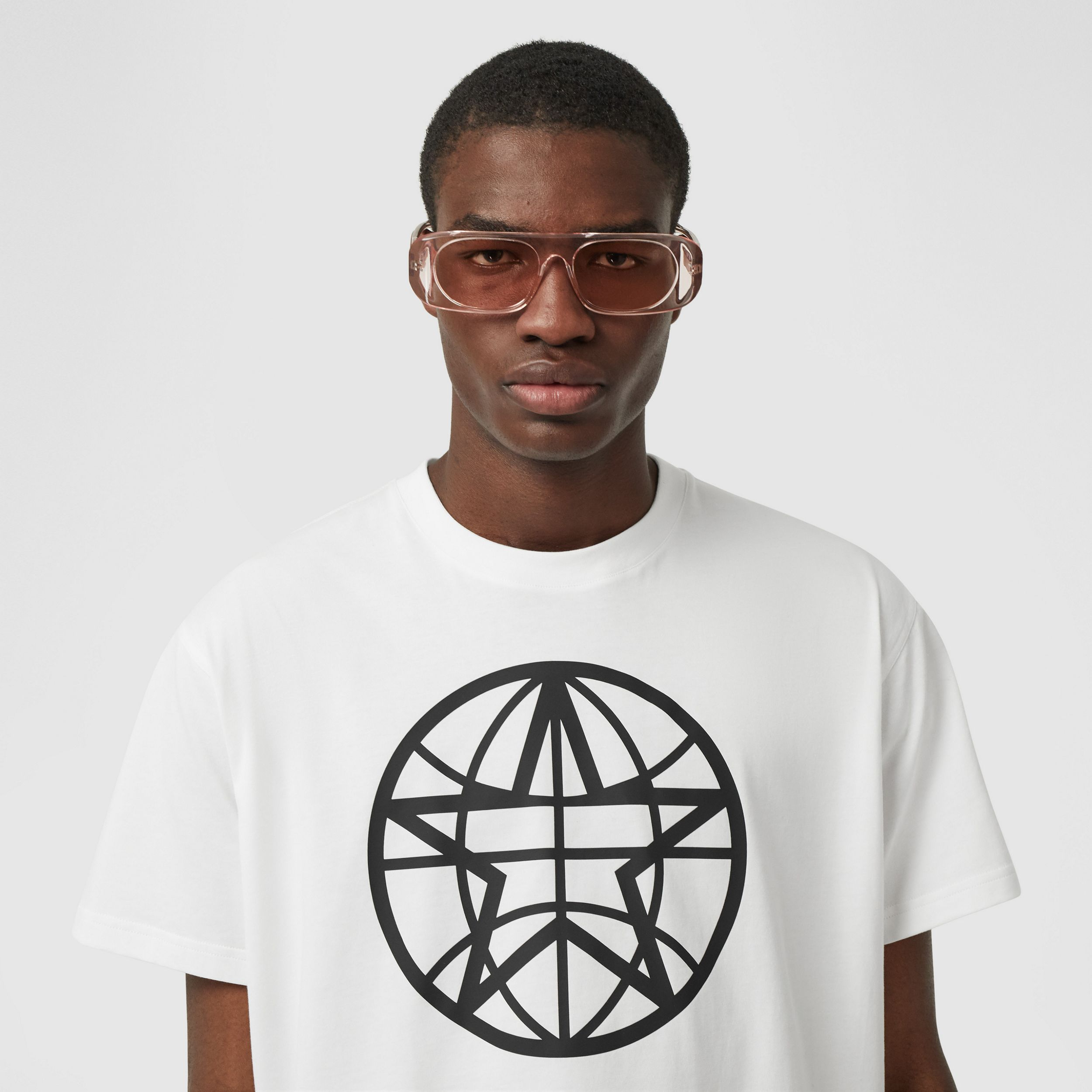 Globe Graphic Cotton Oversized T-shirt in White - Men | Burberry - 2