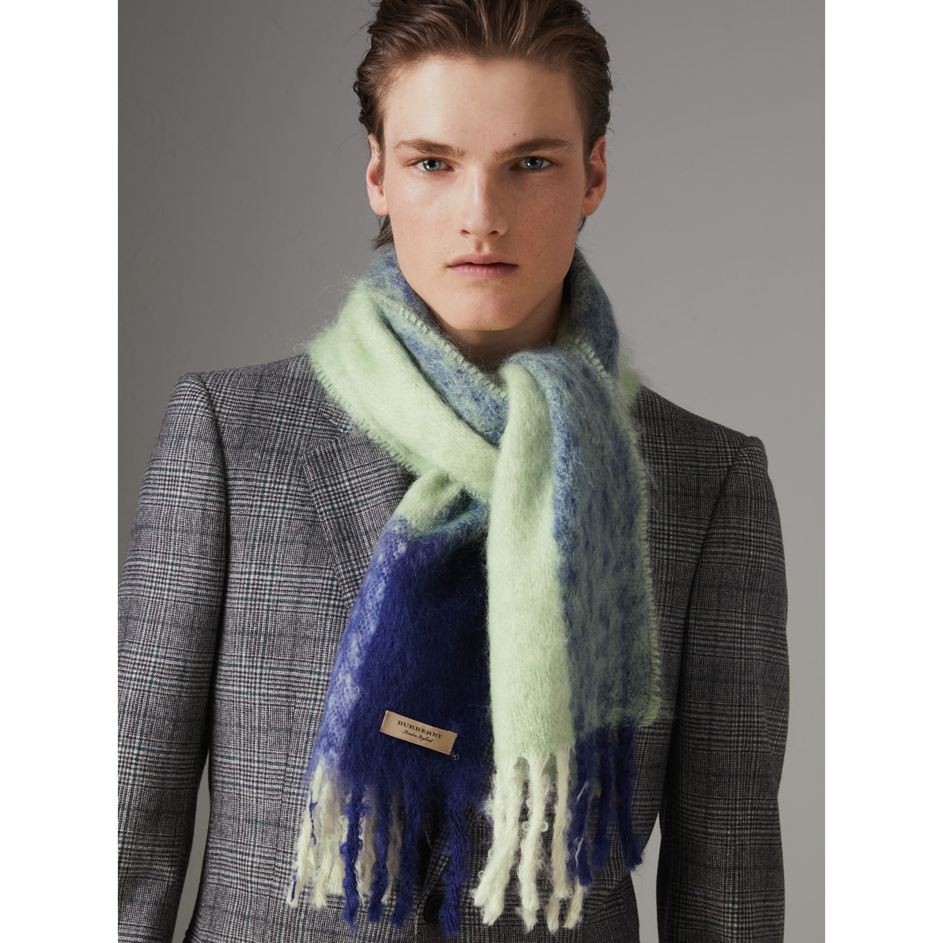 Two-tone Mohair Wool Scarf in Pistachio Green | Burberry - gallery image 5