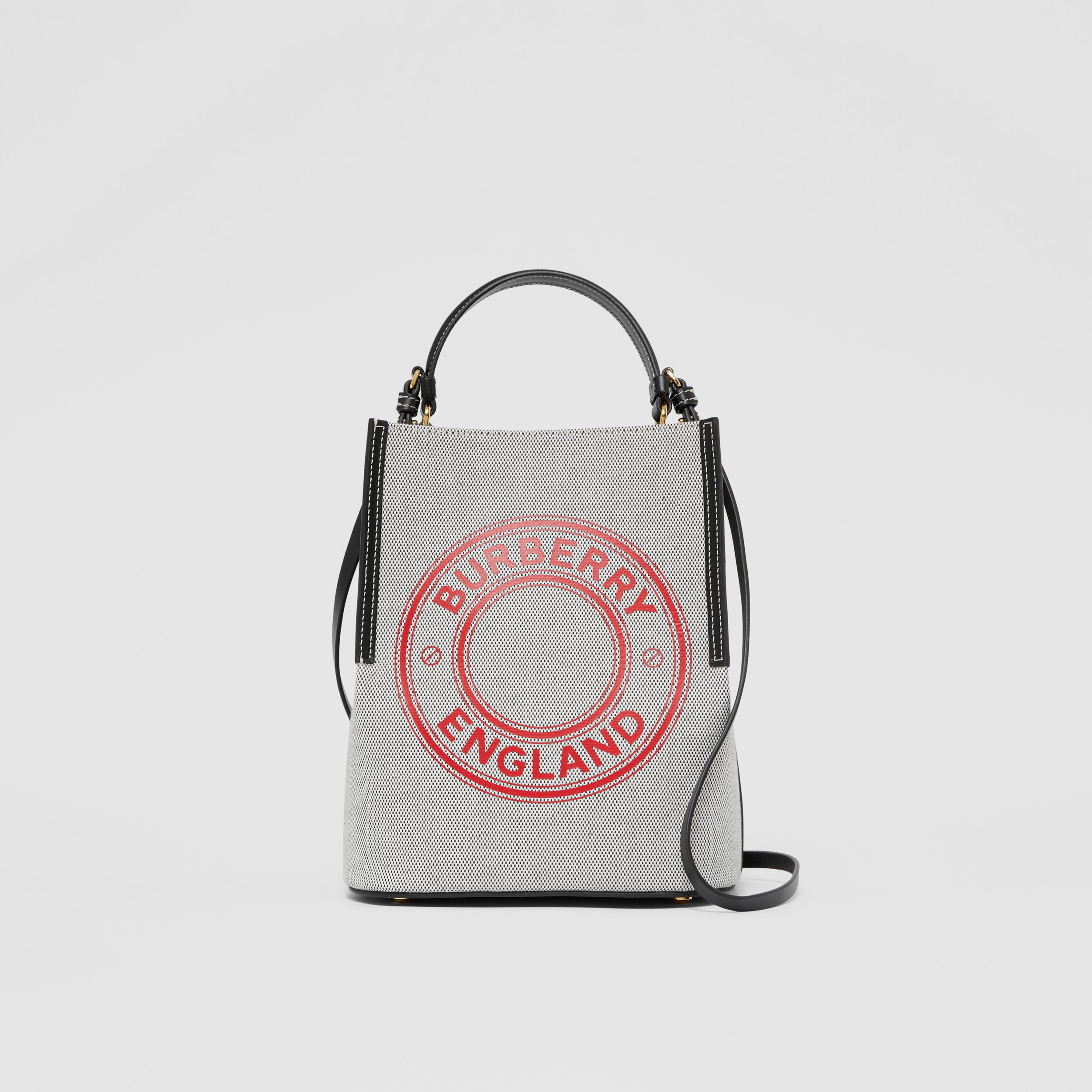 Small Logo Graphic Canvas Peggy Bucket Bag in Black/black/fiery Red - Women | Burberry - 1