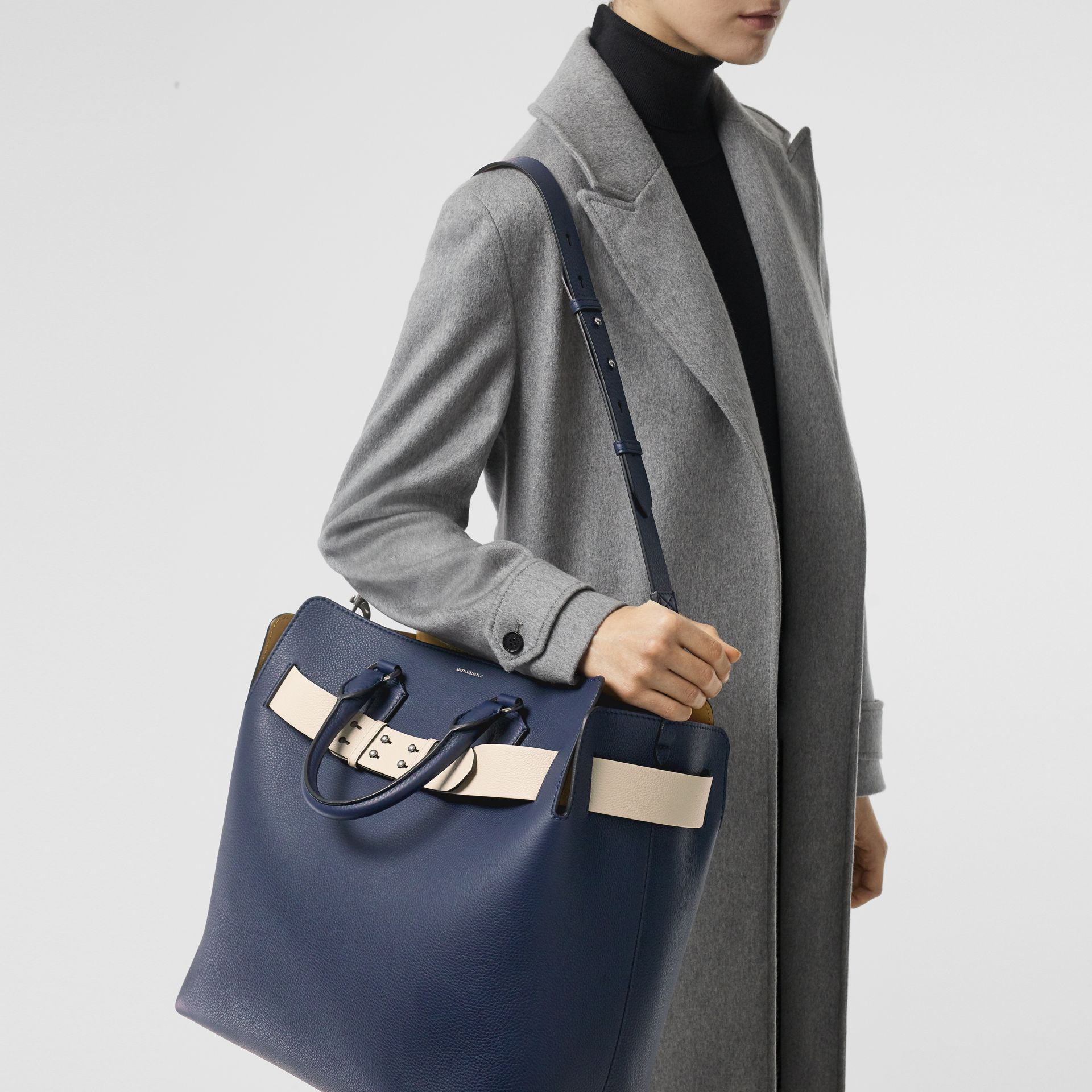 The Large Leather Belt Bag in Regency Blue - Women | Burberry - gallery image 2