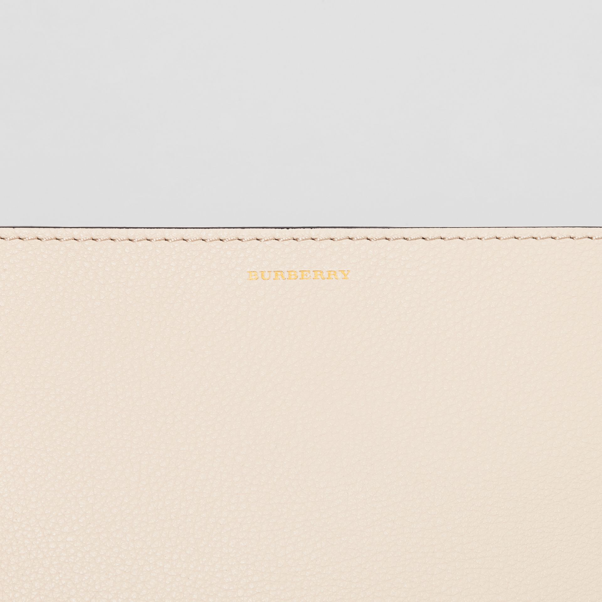 Medium Tri-tone Leather Clutch in Limestone/cornflower Yellow | Burberry - gallery image 1