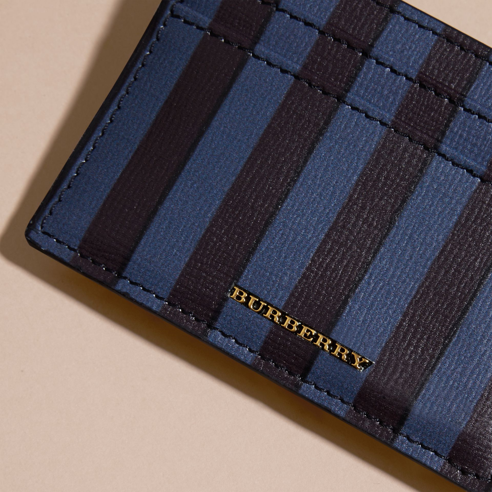 Navy Pyjama Stripe London Leather Card Case Navy - gallery image 2