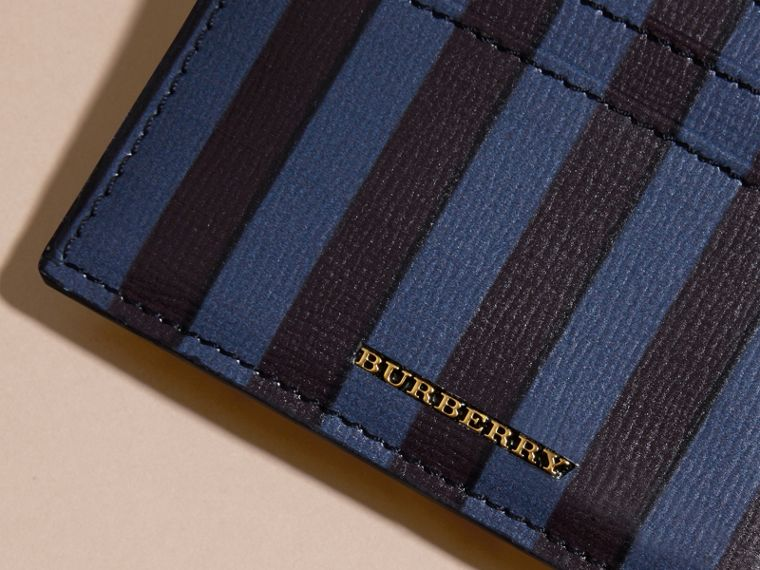 Navy Pyjama Stripe London Leather Card Case Navy - cell image 1