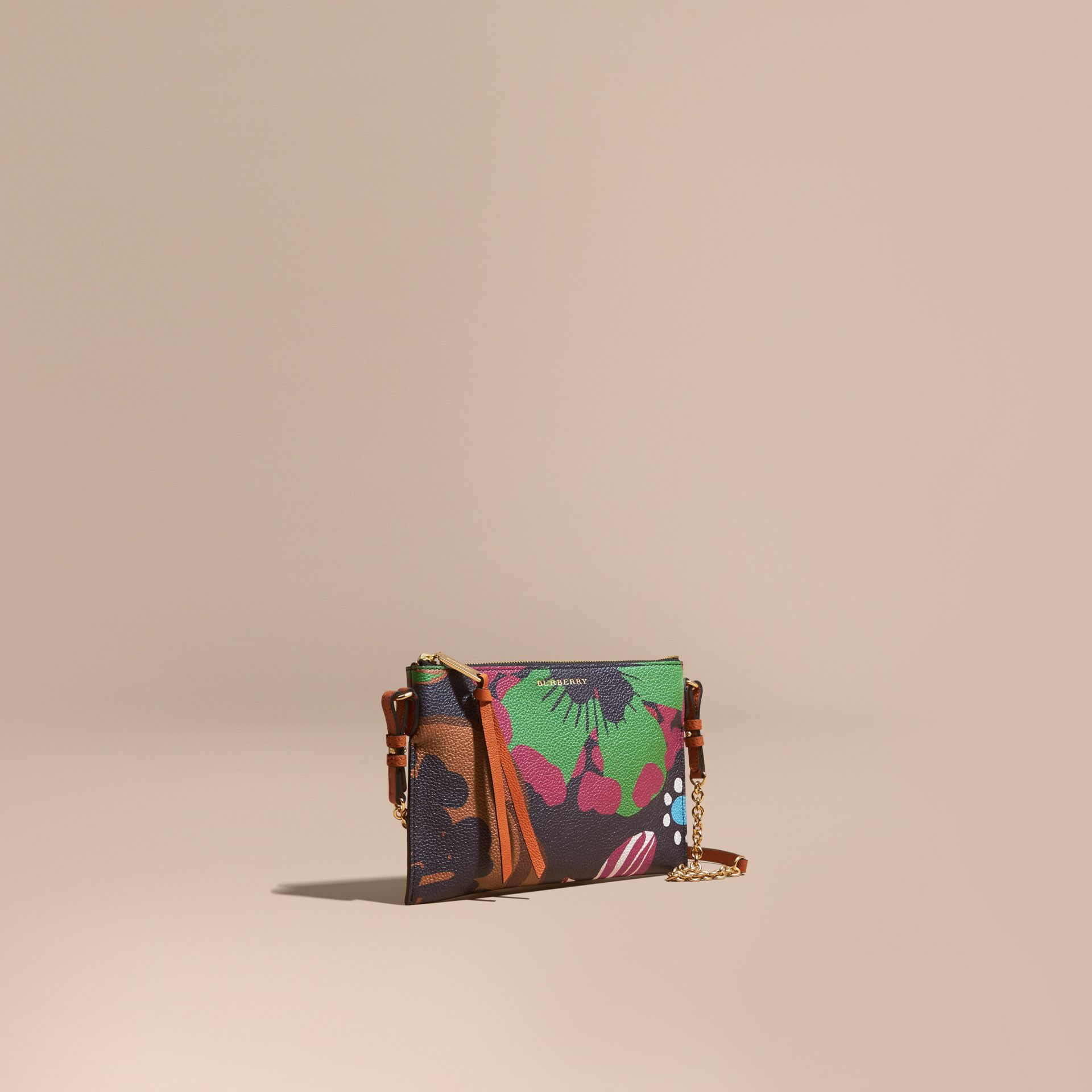 Navy Floral Print Leather Clutch Bag Navy - gallery image 1