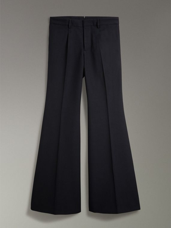 Wool Twill Flared Tailored Trousers in Dark Navy
