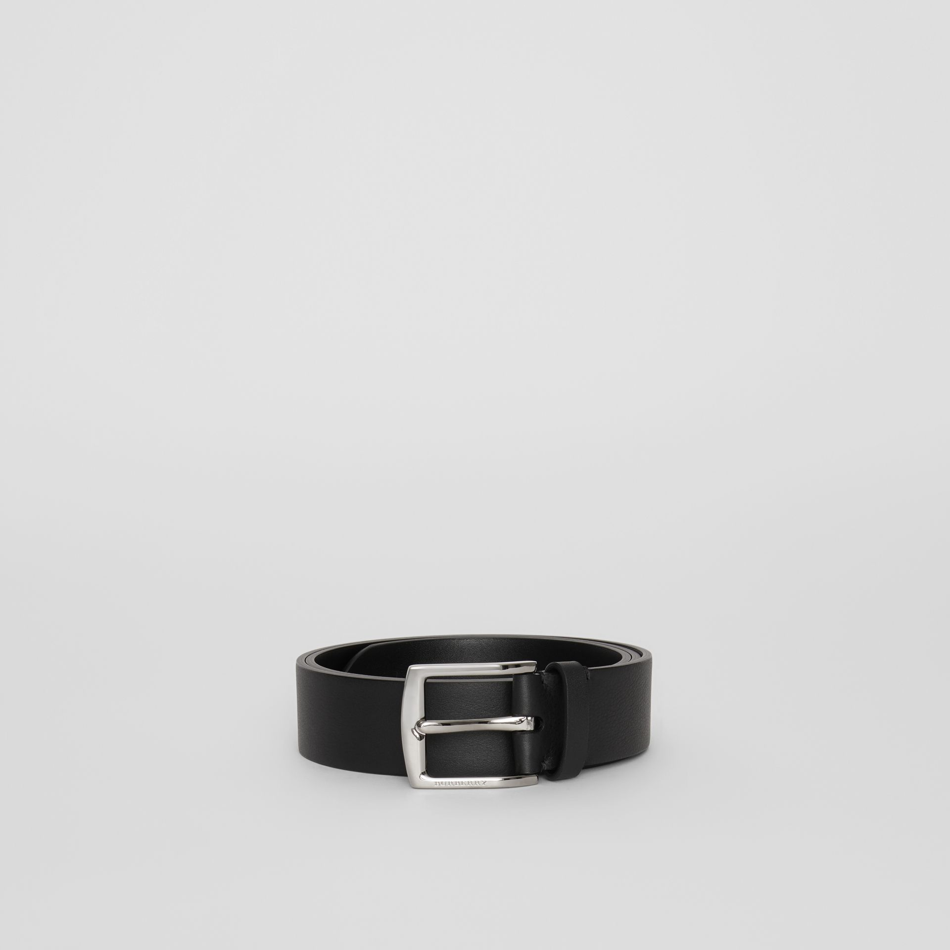 Embossed Crest Leather Belt in Black - Men | Burberry - gallery image 3
