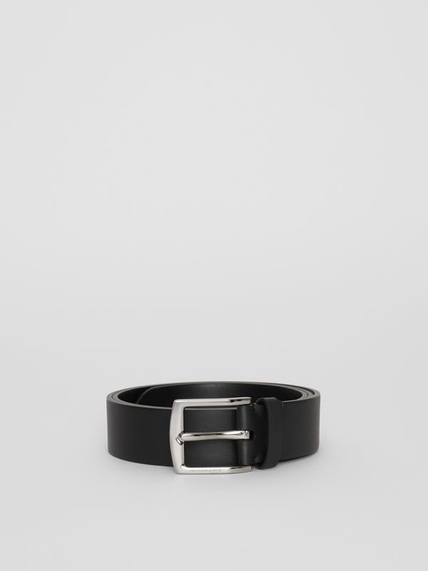 Embossed Crest Leather Belt in Black - Men | Burberry - cell image 3